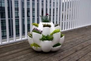 Design Night - Beyaz Çiçek Saksı